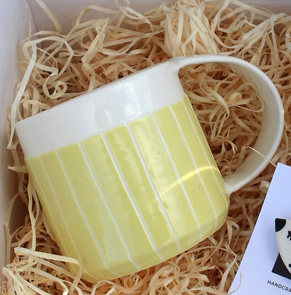 Yellow Stripe Coffee Cup | Ceramic Tableware | Handmade Irish Gifts