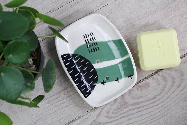 Green Abstract Rectangular Ceramic Soap Dish - Handmade Irish Gifts - Irish Pottery - Homewares - New Home