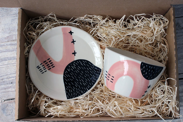 Blush Ceramic Breakfast Gift Set - Handmade Irish Gifts - Irish Pottery - Tableware - Irish Made Christmas Gifts