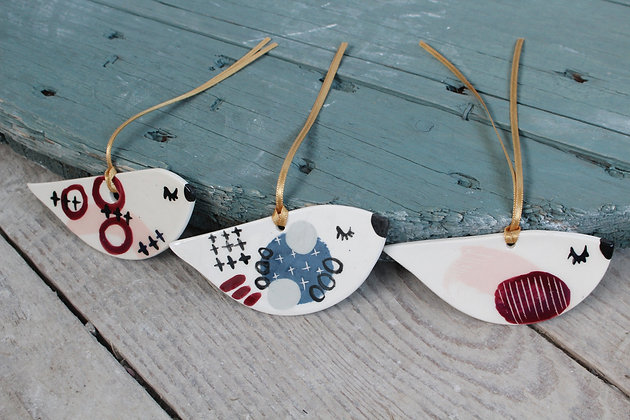 Bird decoration gift set | Ceramic Decoration | Handmade Irish Gifts | Christmas Gifts