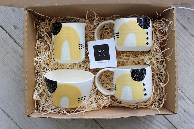 Yellow Ceramic Coffee Cups, Pourer & Sugar Bowl Gift Set - Handmade Irish Gifts - Irish Pottery - Tableware - Occasional Gift