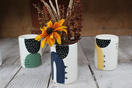 Ceramic Vases - Navy/Green/Yellow - Irish Made Gifts - Homewares