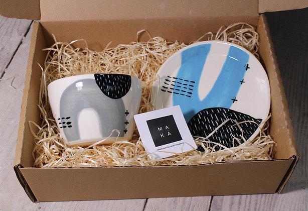 Grey/Blue Ceramic Breakfast Gift Set - Handmade Irish Gifts - Irish Pottery - Tableware - Irish Made Christmas Gifts