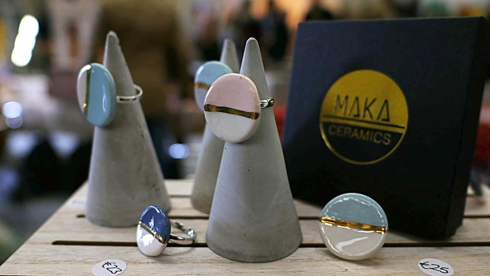 MAKA ceramic rings - Irish ceramics - jewellery