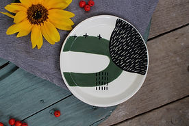 Green Abstract Side Plate