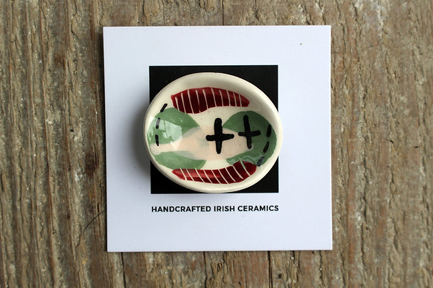 Ceramic Abstract Brooch - Handmade Irish Gifts