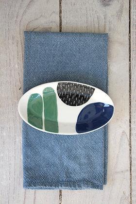 Navy/Green Ceramic Nibbles Bowl - Handmade Irish Gifts - Irish Pottery - Tableware