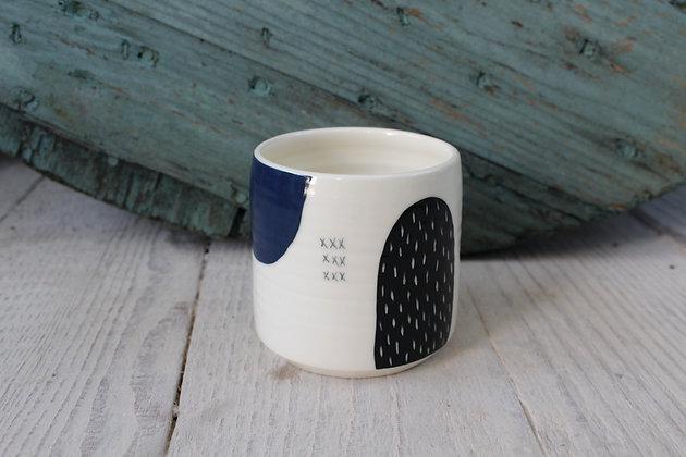 Navy/Green Abstract Ceramic Beaker - Handmade Irish Gifts - Irish Pottery - Homewares - New Home Gifts