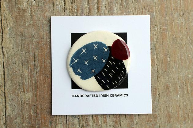 Ceramic Abstract Brooch - Handmade Irish Gifts