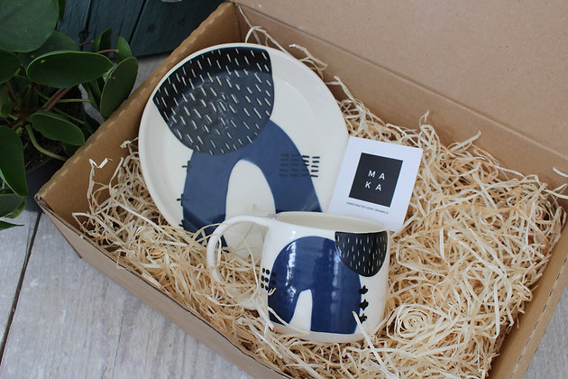 Navy Ceramic Plate Coffee Cup Set - Handmade Irish Pottery – Gifts - Homewares -  Fathers Day Gifts