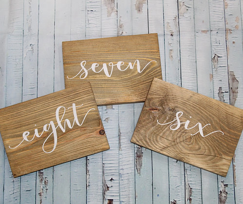 Horizontal Table Numbers