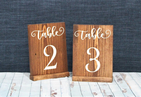Vertical Wood Table Number