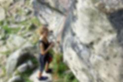 Tania Esteban rock climbing