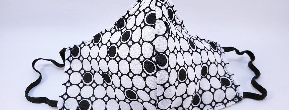 Mask, Black & White Geometric Circle, Reusable/Washable, Cotton