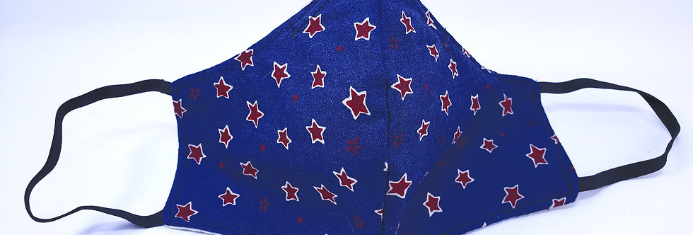 Mask, Navy Blue w/ Red Star, Reusable/Washable, Cotton with Filter