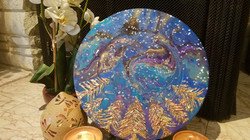 """Platter/Serving Dish/Plate, Charger with Resin -14"""" Diameter, Resin Art"""