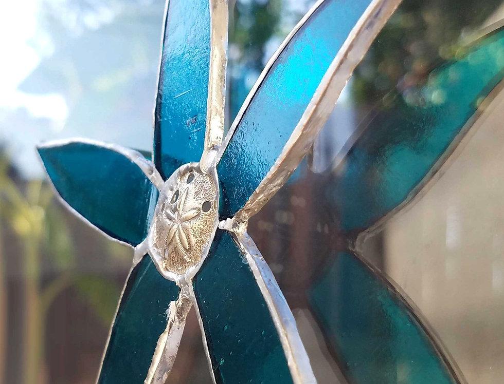 "Stained Glass Starfish, Suncatcher 5"", Window hanging decor, Glass Art"