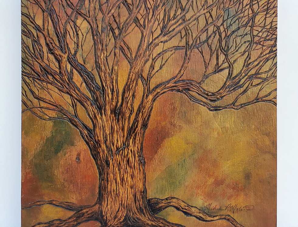 """Be Still"" Tree Wood Burned, Wooden Panel 11""x 11"""