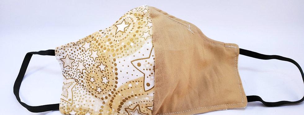 Mask, Gold Star / Solid Beige Face Mask, Reusable/Washable, Cotton,Filter Pocket