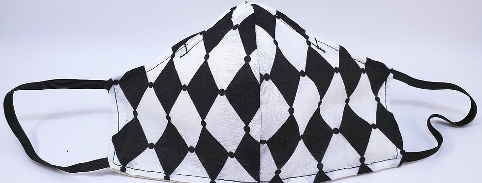 Mask, Black & White Diamond  Shape, Reusable/Washable, Cotton, Filter Pocket