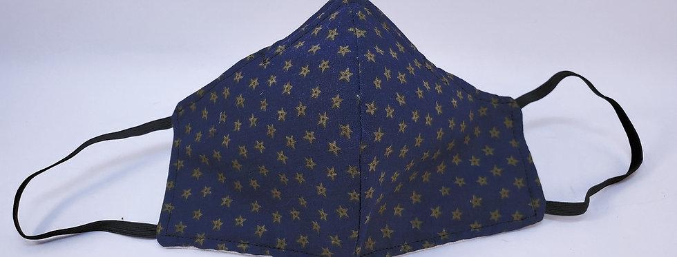 Mask, Navy Blue w/ Gold Star Face Mask, Reusable/Washable, Cotton, Filter Pocket
