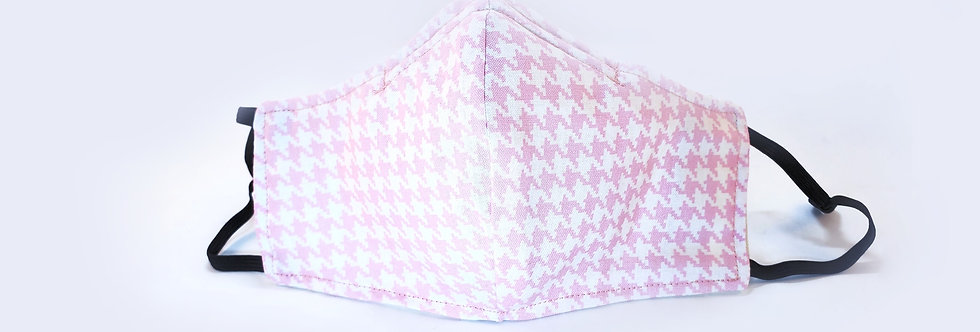 Mask Pink & White Herringbone Face Mask, Reusable/Washable,Cotton, Filter Pocket