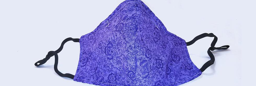 Mask Dark Purple Floral Face Mask, Reusable/Washable, Cotton, Filter Pocket