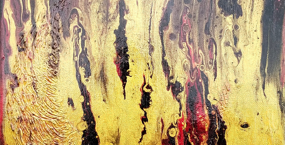 """""""Blood Moon Rising"""" Abstract Acrylic Painting 12""""x 12"""" 