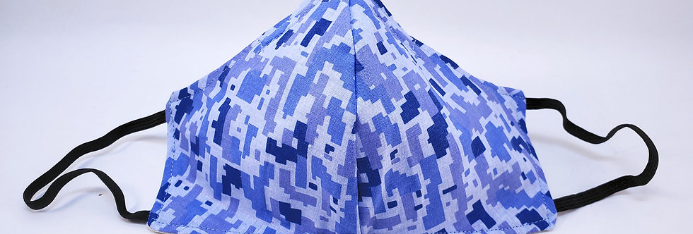 Mask, Blue Pixelated Camo Face Mask, Reusable/Washable, Cotton, Filter Pocket