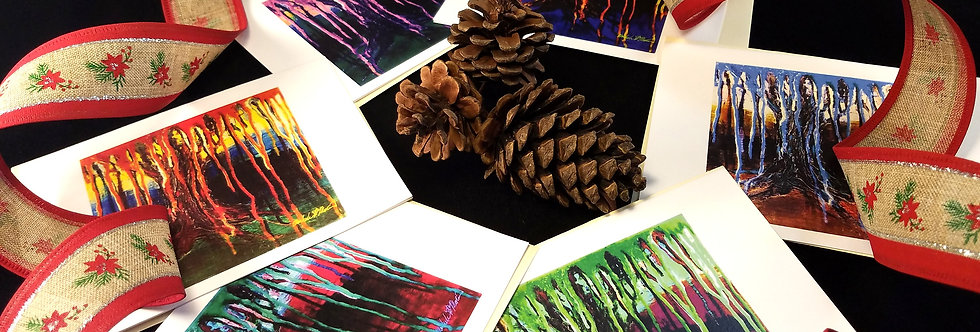 """Cards, TREE CARD SET, """"Spooky Tree"""" (6) Blank Cards with Envelopes"""