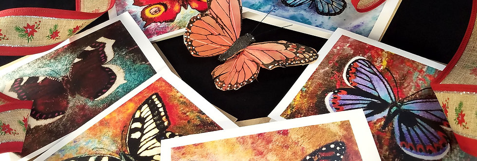 Cards BUTTERFLY CARD SET(6)Blank Cards w/ Envelopes, Monarch, Swallowtail & more