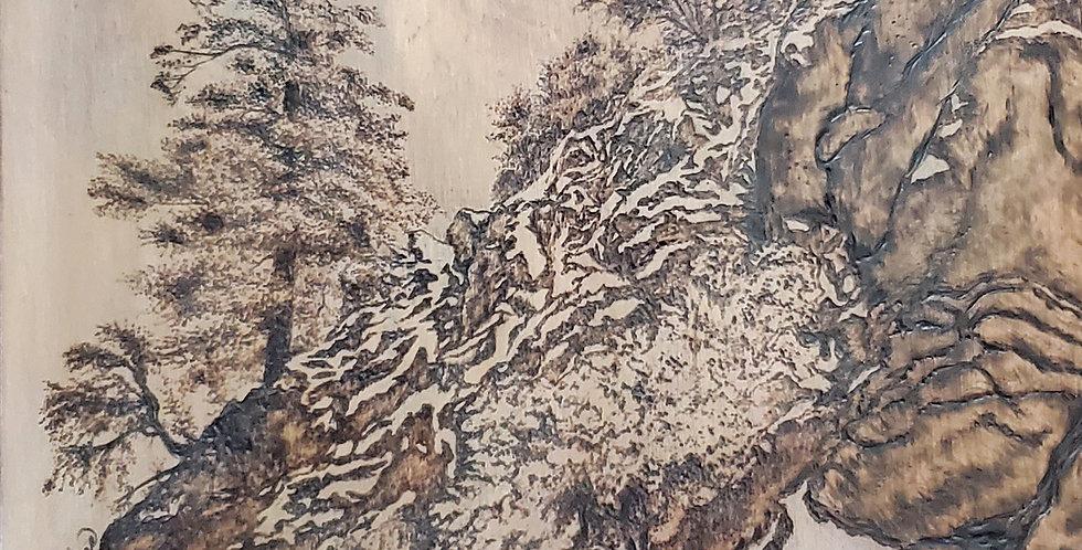 """Breathe"" Tree Wood Burned, Wooden Panel 11""x 11"""