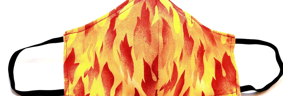 Mask, Fire Flames Face Mask, Reusable/Washable, Cotton, Filter Pocket