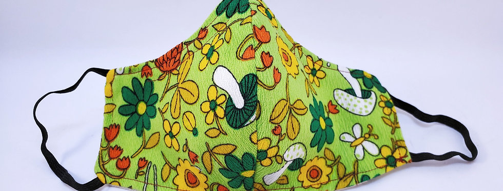 Mask, Green 70's Funky Mushroom Face Mask,Reusable/Washable,Cotton,Filter Pocket