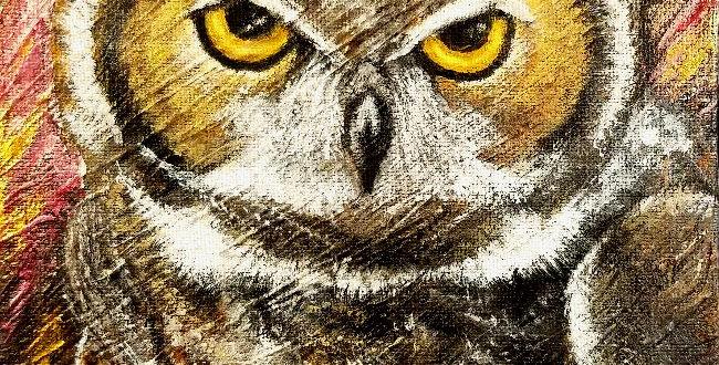 """Gold Eyes"", Owl Print | MichMoArt"