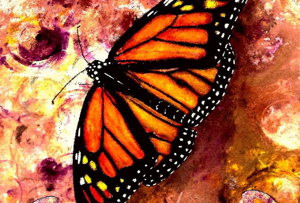 Deco Scroll Monarch Butterfly, Orange/Purple/Yellow/Green/Blue, Print  MichMoArt