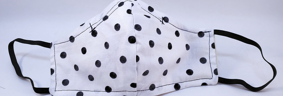 Mask, Black & White Polka Dot Face Mask, Reusable/Washable, Cotton,Filter Pocket