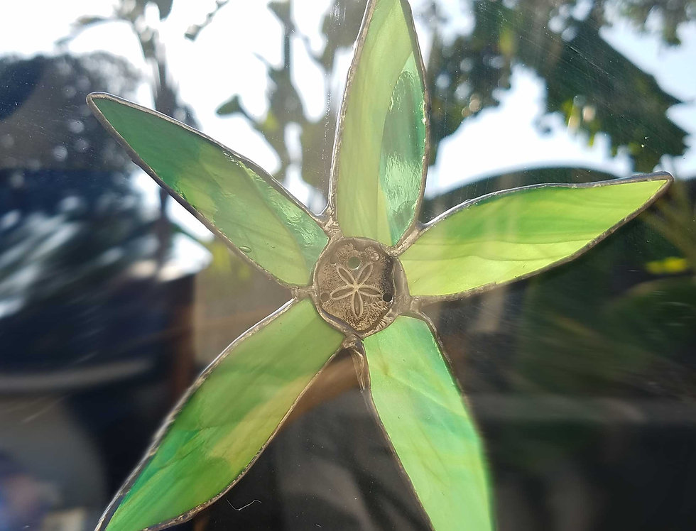 "Stained Glass Starfish, Suncatcher 5"" Green, Window hanging decor, Glass Art"