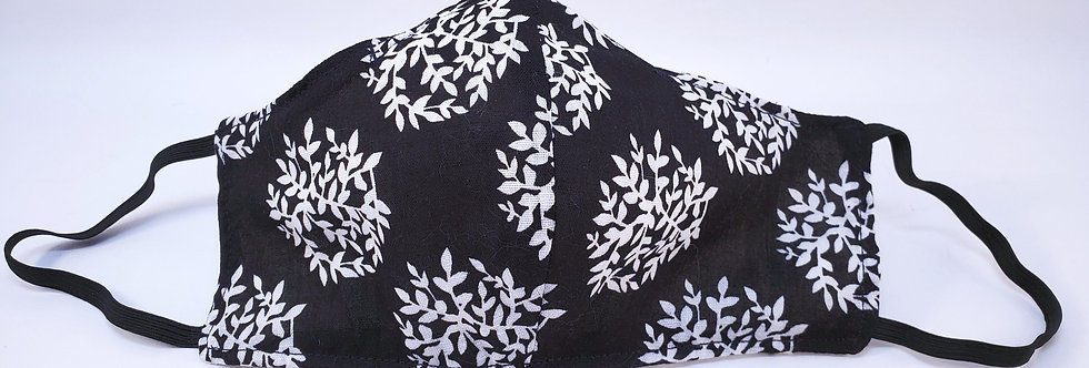 Mask, Black & White Flora lFace Mask, Reusable/Washable, Cotton, Filter Pocket