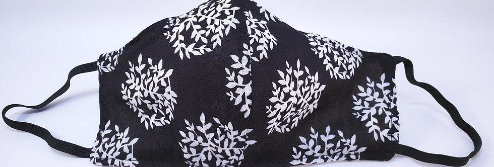 Mask, Black & White Floral Face Mask, Reusable/Washable, Cotton, Filter Pocket