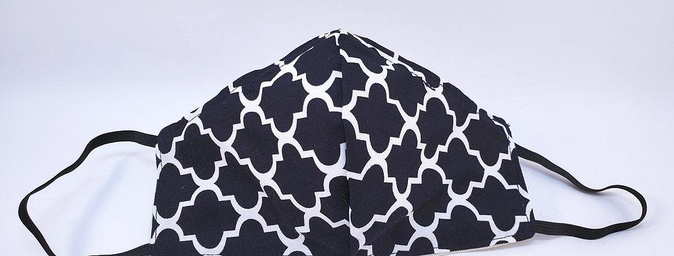 Mask, Black & White Geometric Face Mask, Reusable/Washable, Cotton,Filter Pocket