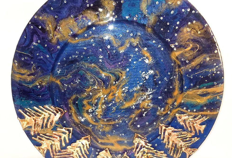 "Platter/Dish/Plate, Charger with Trees & Night Sky, 14"" Diameter, Resin Art"