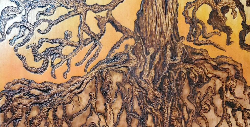 """The Roots that Bind Us"" Tree Wood Burned, Wooden Panel 11""x 11"" 