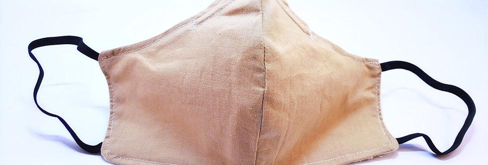 Mask, Solid Kahki Face Mask, Reusable/Washable, Cotton, Filter Pocket