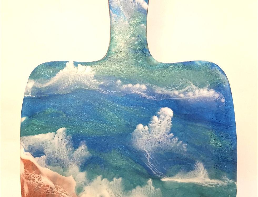 "Handled board, Cutting/Serving Board 8"" x 6"", Resin Art"