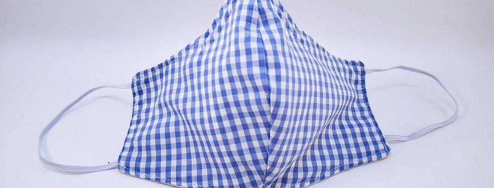 Mask, Blue & White Gingham Face Mask, Reusable/Washable, Cotton, Filter Pocket