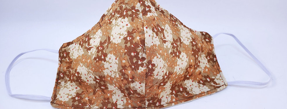Mask, Brown Floral Face Mask, Reusable/Washable, Cotton, Filter Pocket