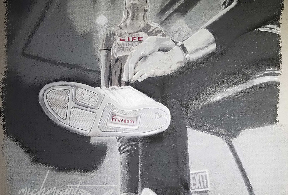 """Step Into Freedom"" Freedom from Prison, Original Pastel Drawing, Framed"