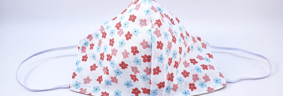 Mask, Pink & Blue Flower Face Mask, Reusable/Washable, Cotton, Filter Pocket