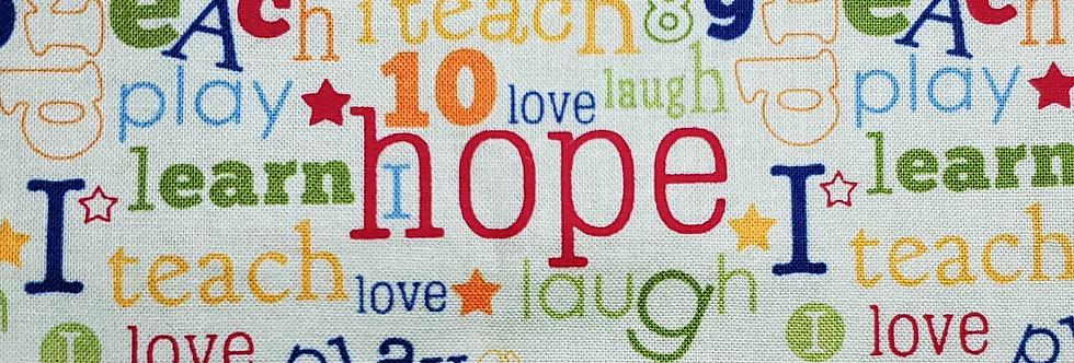 Mask, Hope, Dream, Love, Laugh, Teach, Reuse/Wash, Cotton, Filter Pocket